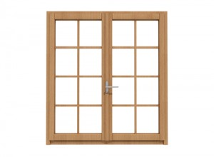 wooden window isolated on white - rendering